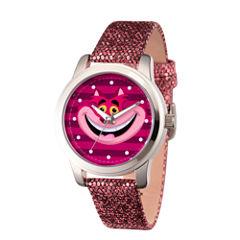Disney Alice in Wonderland Womens Purple Strap Watch-Wds000357