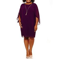 MSK 3/4 Sleeve Sheath Dress-Plus