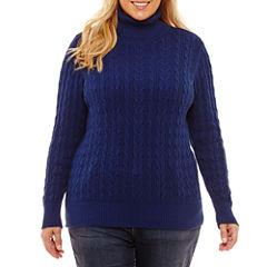 St. John's Bay Long Sleeve Cable Turtleneck Sweater-Plus
