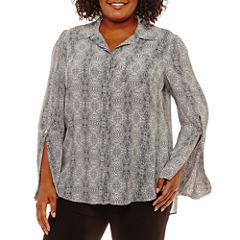 Worthington Long Bell Sleeve Woven Blouse-Plus