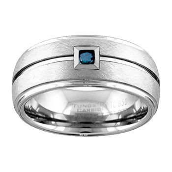 9M 1/10 CT. T.W. Genuine Blue Diamond Tungsten Round Wedding Band