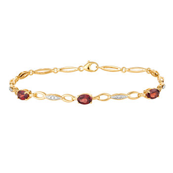Diamond Accent Genuine Red Garnet 10K Gold 7.5 Inch Tennis Bracelet