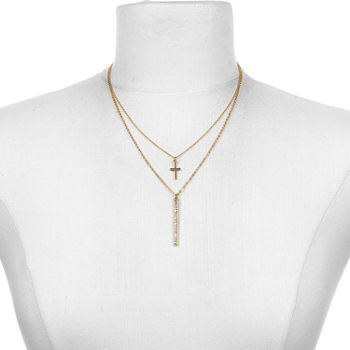 Bijoux Bar 16 Inch Link Cross Chain Necklace