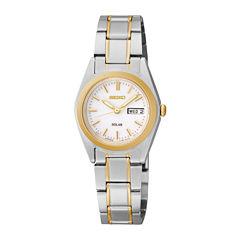 Seiko® Womens Two-Tone Stainless Steel Solar Bracelet Watch SUT108
