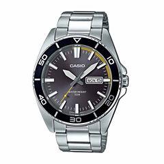 Casio Mens Silver Tone Bracelet Watch-Mtd120d-8a