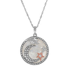 Womens White Mother Of Pearl 14K Sterling Silver Gold Over Silver Pendant Necklace