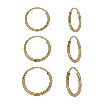10K Gold 3 Pair Earring Set