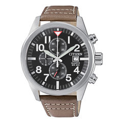 Citizen Quartz Mens Brown Strap Watch-An3620-01h
