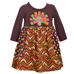 Bonnie Jean Long Sleeve Ribbon Turkey DressDress - Baby Girls