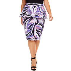 Fashion To Figure Kerissa Brush Stroke Peplum Skirt - Plus