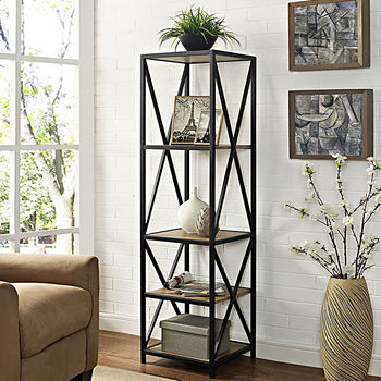 "61"" Tall X-Frame Metal and Wood Media Bookshelf"