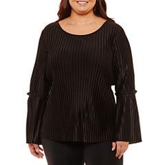 Boutique + Long Sleeve Pleated Blouse-Plus