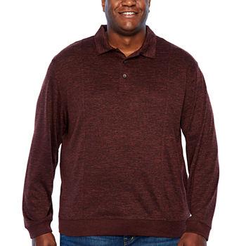 5e1b731e8 Van Heusen Flex Banded Bottom Easy Care Long Sleeve Tonal Melange Polo Shirt  - Big and Tall