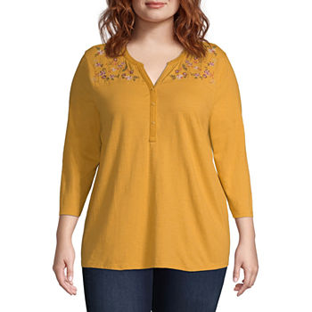 1ff5399b272d8 Plus Size Henley Shirts Tops for Women - JCPenney