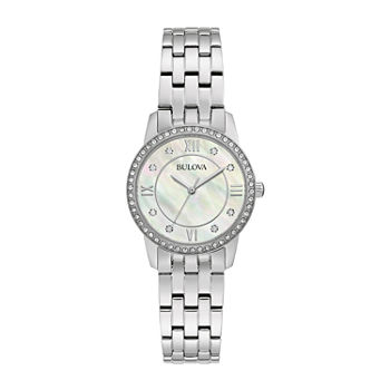 Bulova Womens Crystal Accent Silver Tone Stainless Steel 2-pc. Watch Boxed Set-96x155