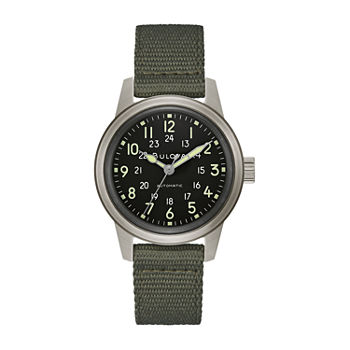 Bulova Military Mens Green Bracelet Watch - 96a259