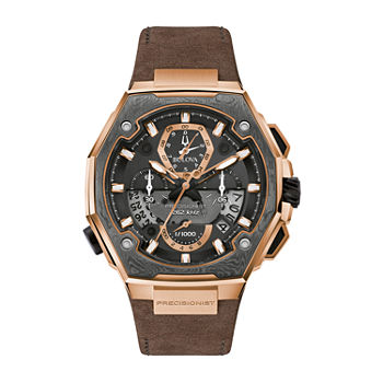 Bulova Precisionist Mens Chronograph Brown Leather Bracelet Watch - 98b356