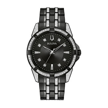 Bulova Mens Crystal Accent Black Stainless Steel 2-pc. Watch Boxed Set-98k109