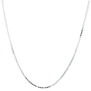 "Made in Italy Silver Treasures Sterling Silver 16""-30"" Inch Box Chain Necklace"
