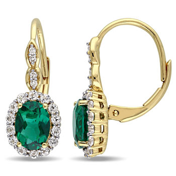 Diamond Accent Lab Created Emerald 14K Gold Drop Earrings