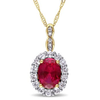 Fine Jewelry LIMITED QUANTITIES! 1/7 CT. T.W. Red Rhodolite 14K Gold Pendant Necklace