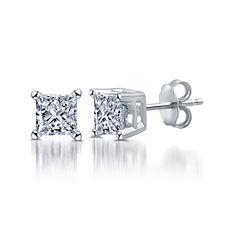 Classic 1/2 CT. T.W. Princess White Diamond 10K Gold Stud Earrings