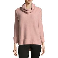 Liz Claiborne 3/4 Sleeve Cowl Neck Pullover Sweater
