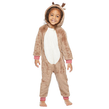 North Pole Trading Co. Reindeer Toddler Unisex Fleece Long Sleeve One Piece Pajama