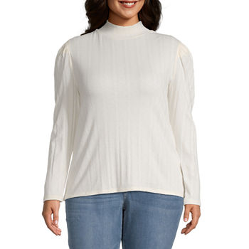 a.n.a. Plus Womens Long Sleeve Turtleneck