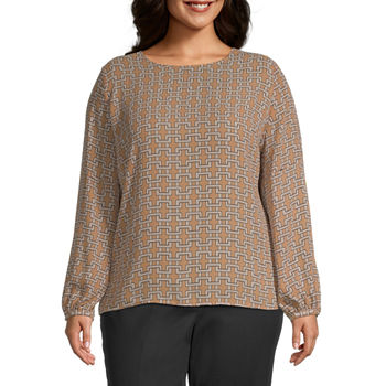Liz Claiborne Womens Button Long Sleeve Top - Plus