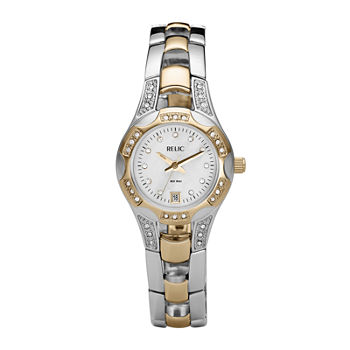 Relic By Fossil Womens Two Tone Stainless Steel Bracelet Watch - Zr11761