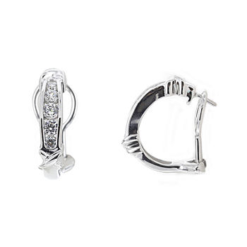 DiamonArt® Cubic Zirconia Sterling Silver X Huggie Hoop Earrings