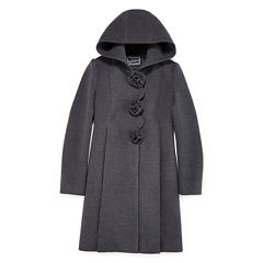 Rothschild Rosette Long-Sleeve Faux Wool Dress Coat - Girls