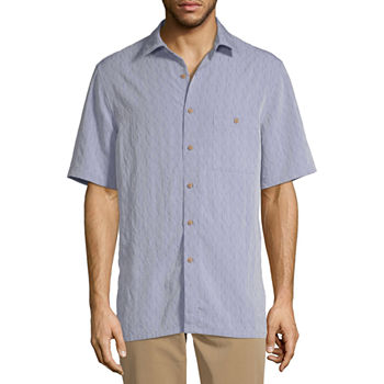 Campia Mens Short Sleeve Geo Linear Button-Down Shirt
