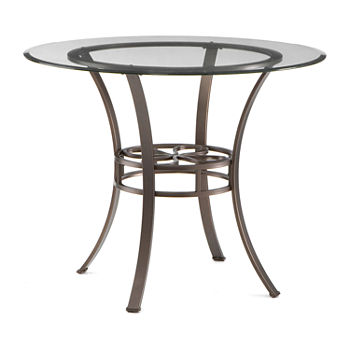 Southern Enterprises Morrison Round Glass-Top Dining Table