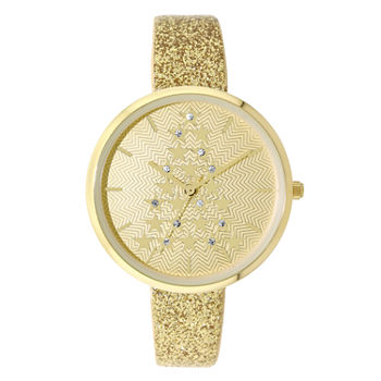 Holiday Whimsy Womens Gold Tone Leather Strap Watch-18114