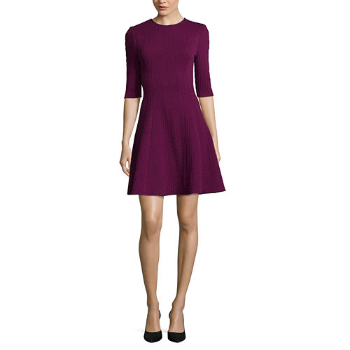 London Style Elbow Sleeve A-Line Dress-Petites