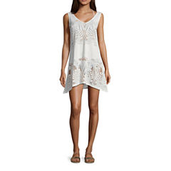 Porto Cruz Pattern Knit Swimsuit Cover-Up Dress