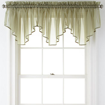 Home Expressions Lisette Rod-Pocket Sheer Ascot Valance