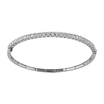 1 CT. T.W. Genuine Diamond 10K White Gold Bangle Bracelet