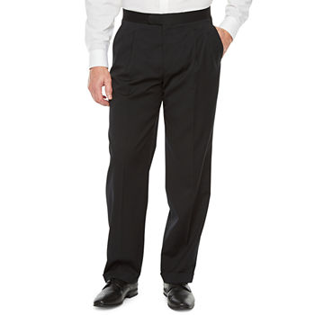 Stafford Travel Mens Classic Fit Pleated Tuxedo Pants