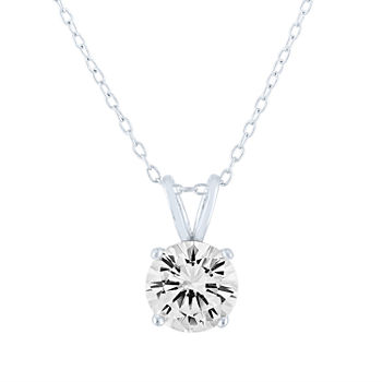 LIMITED TIME SPECIAL! Womens Lab Created White Sapphire Sterling Silver Pendant Necklace