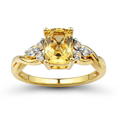 Womens Genuine Orange Citrine Gold Over Silver Cocktail Ring