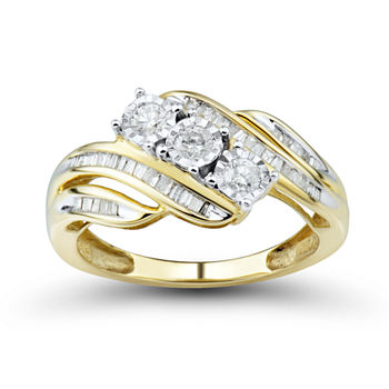 Wedding Rings Pictures.Love Lives Forever 1 2 Ct T W Round White Genuine Diamond 10k Gold 3 Stone Ring
