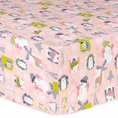 Trend Lab Snow Pals Pink Flannel  Crib Sheet