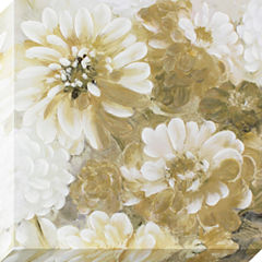 Decor Therapy Dreamy Golden Flowers Stretched Canvas