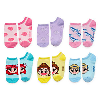 Disney Little & Big Girls 6 Pair Disney Princess No Show Socks