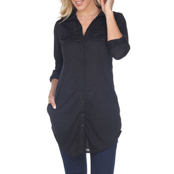 White Mark 'Lakota' Stretchy Button-Down Tunic