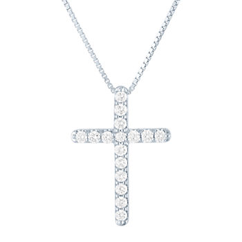 Womens 1/2 CT. T.W. Lab Grown Diamond Sterling Silver Cross Pendant Necklace