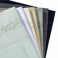 Leaf Embroidery Microfiber Wrinkle Free Sheet Set